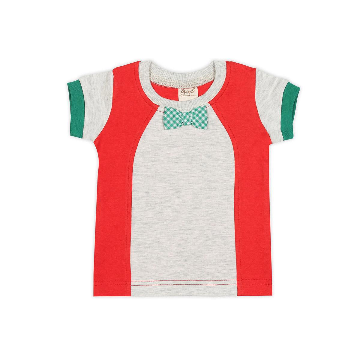 Футболка Ёмаё Хохлома (27-636) рост 80 светло серый меланж с красный<br>