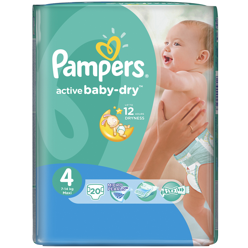 Подгузники Pampers Active Baby Maxi 7-14 кг (20 шт) Размер 4<br>
