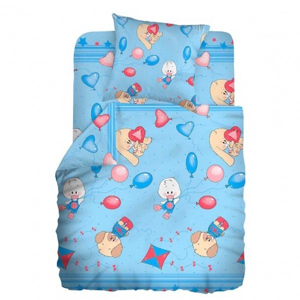 Комплект постельного белья детский бязь Непоседа Кошки-мышки Веселые друзья Голубой