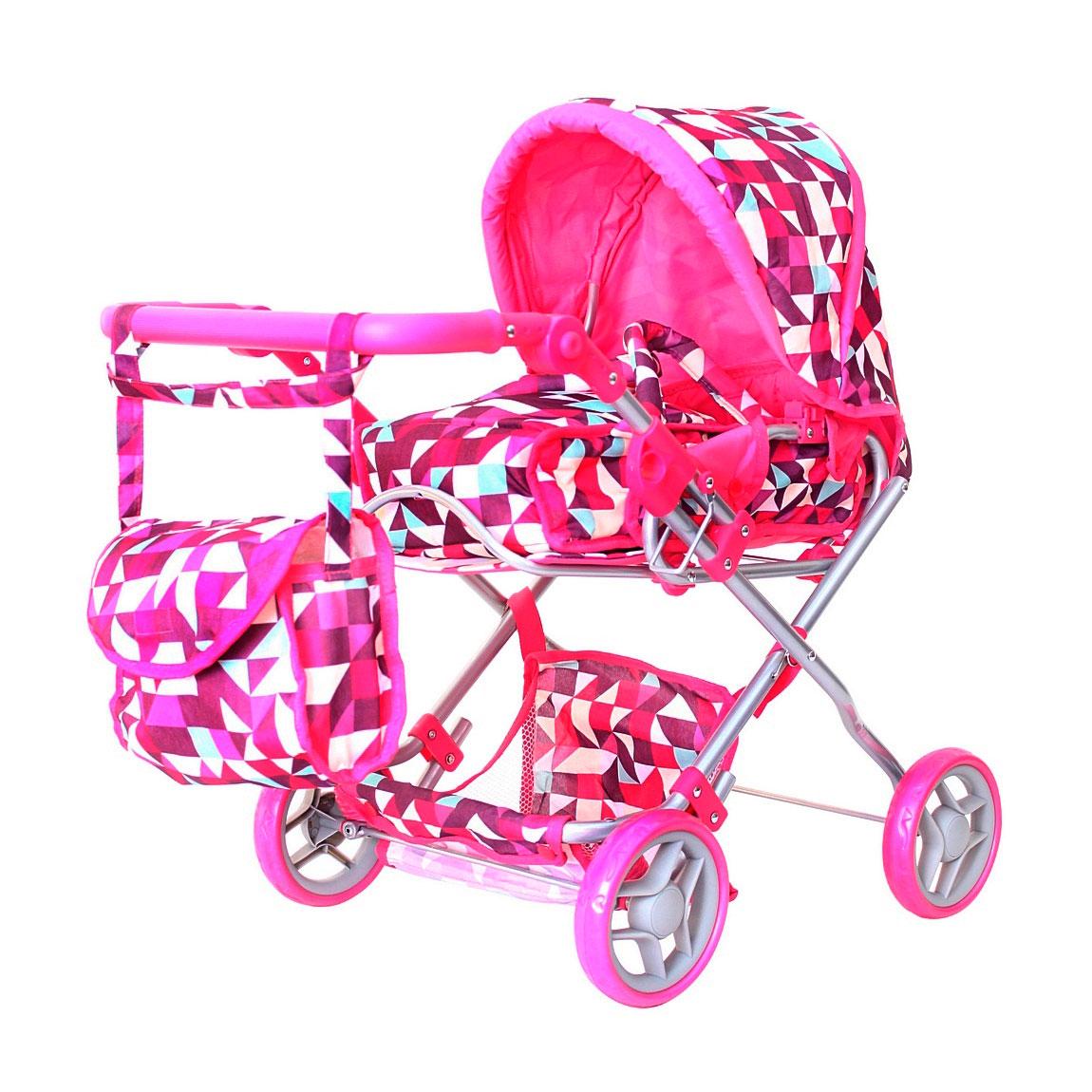 Кукольная коляска RT Розовые ромбы 9663-1<br>
