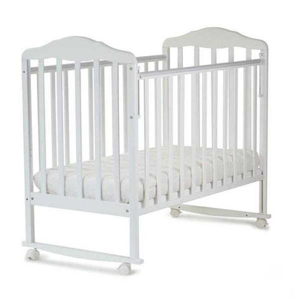 Кроватка СКВ Березка колесо качалка без ящика 1701 Белая<br>