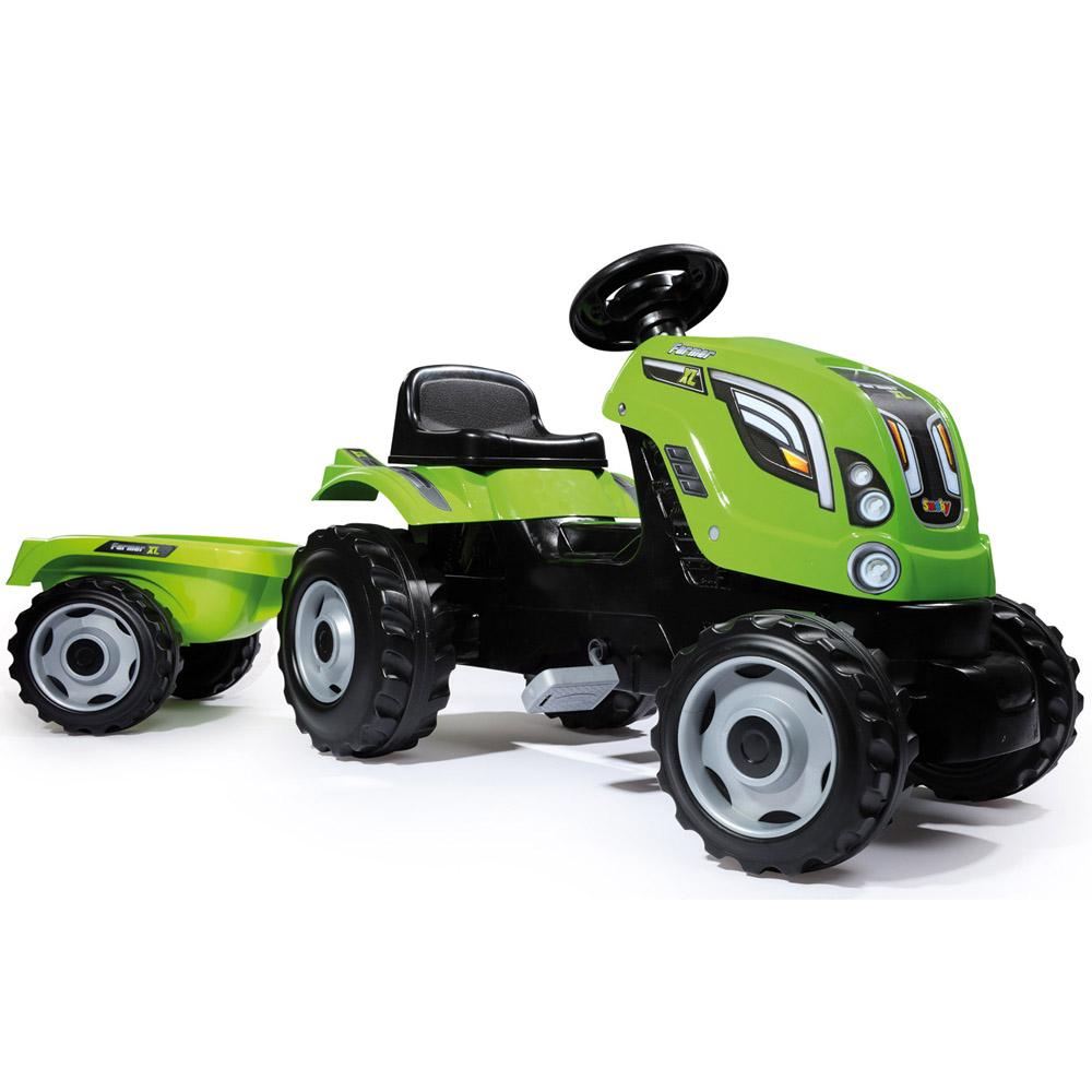 Трактор педальный Smoby XL с прицепом Зеленый 142х44х54.5 см<br>