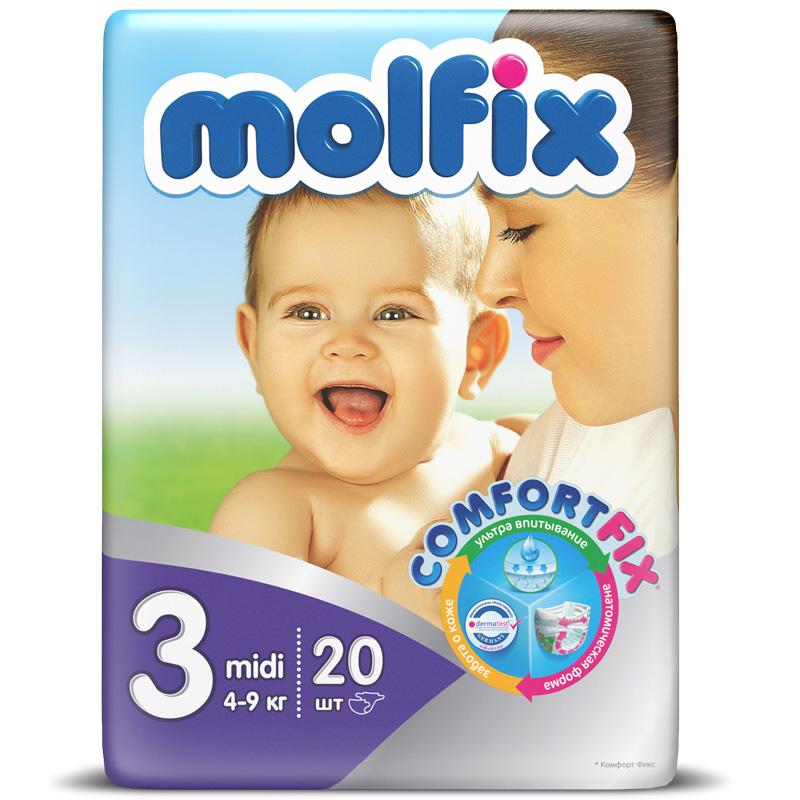 Подгузники Molfix Comfort Fix Midi 4-9 кг. (20 шт.) Размер 3