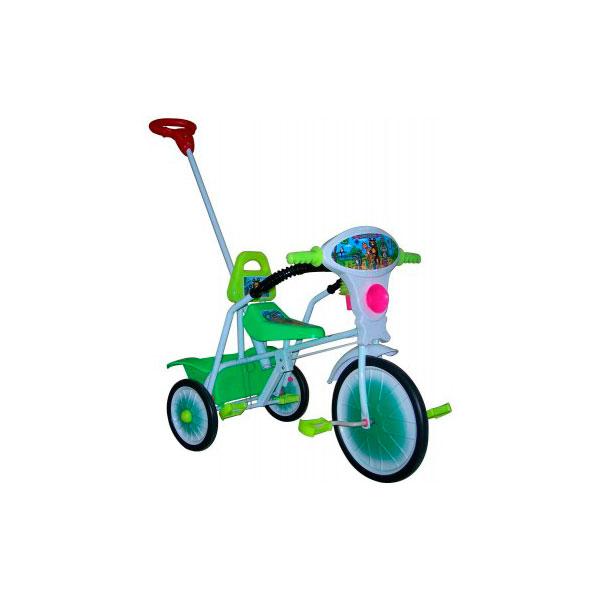 Велосипед трехколесный Малыш с ручкой и ограждением Зеленый<br>