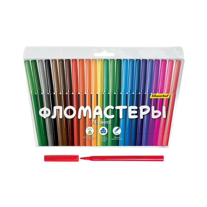 Фломастеры Silwerhof Народная коллекция 24 цвета (Вентилируемый колпачок)<br>