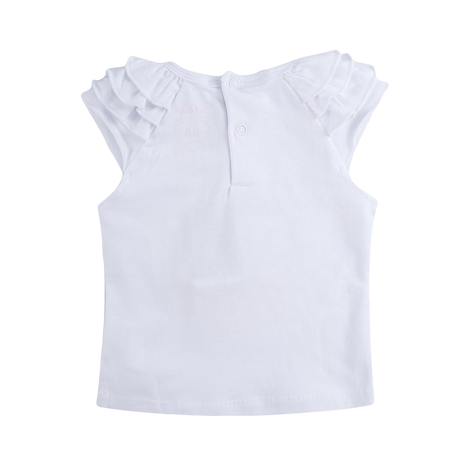 Футболка с коротким рукавом для девочек 5.10.15. цвет белый, с принтом, на шее заклепка 9 мес.