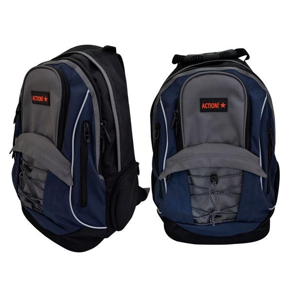 Рюкзак ACTION! 2 отделения Сине-серый