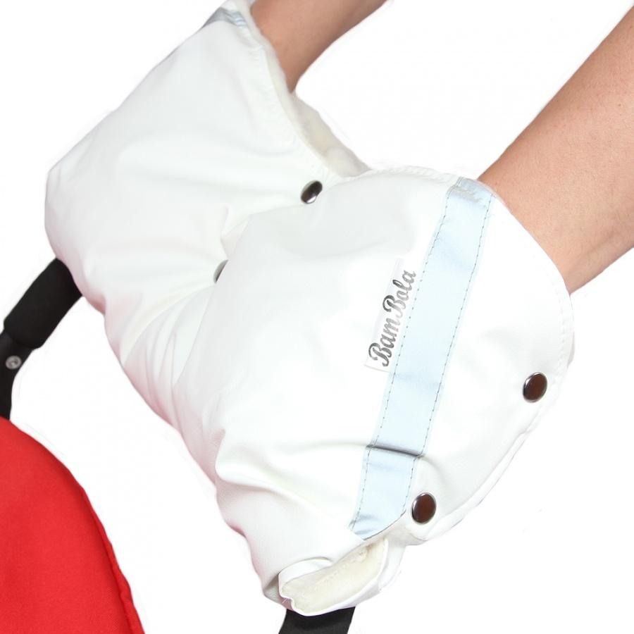 Муфта Bambola для коляски шерстяной мех плащевка кнопки Кожа Белый<br>
