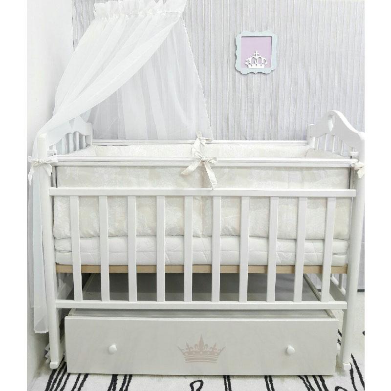 Кроватка ByTwinz Версаль поперечный маятник с ящиком Белый<br>