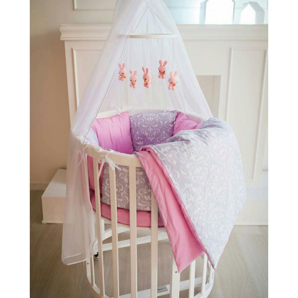 Комплект постельного белья ByTwinz для круглой кроватки Дамаск малина<br>