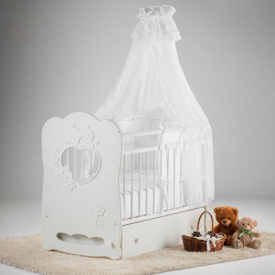 Кроватка Островок Уюта Птенчики маятник поперечный с ящиком Белая<br>