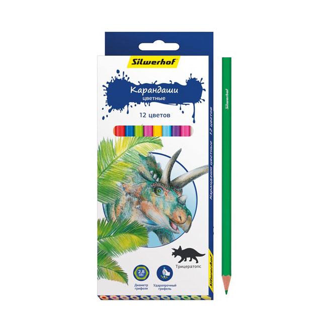 Карандаши цветные Silwerhof 12 цветов Динозавры<br>