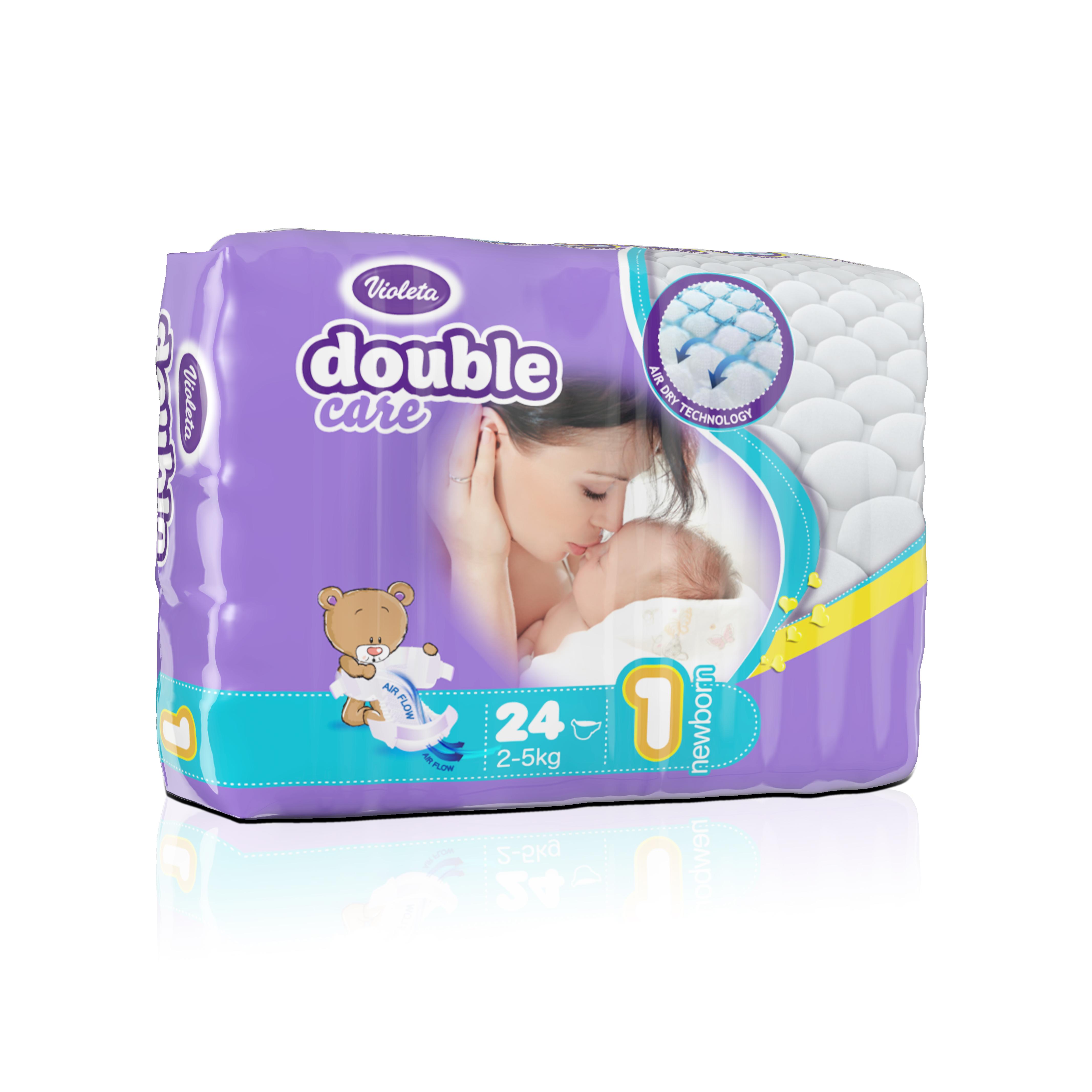Подгузники VIOLETA Double Care 24 штуки (размер 1 NEWBORN)<br>