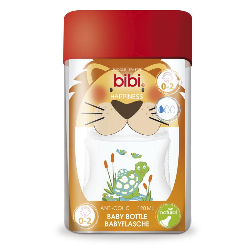 Бутылочка Bibi Natural Happiness Антиколиковая с силиконовой соской 120 мл (с 0 мес)<br>