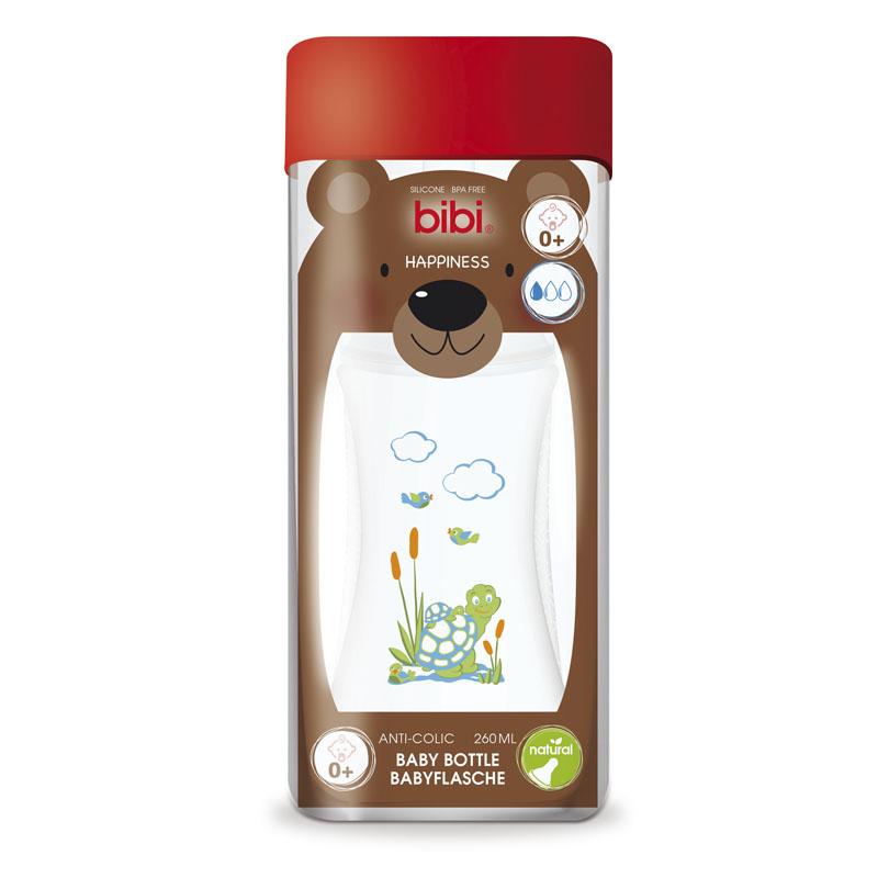 Бутылочка Bibi Natural Happiness Антиколиковая с силиконовой соской 260 мл (с 0 мес)<br>