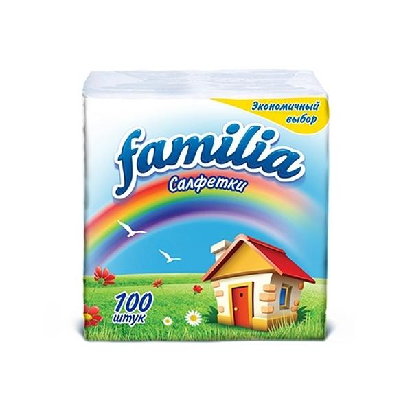 Салфетки Familia 100 шт., белые, 24x23