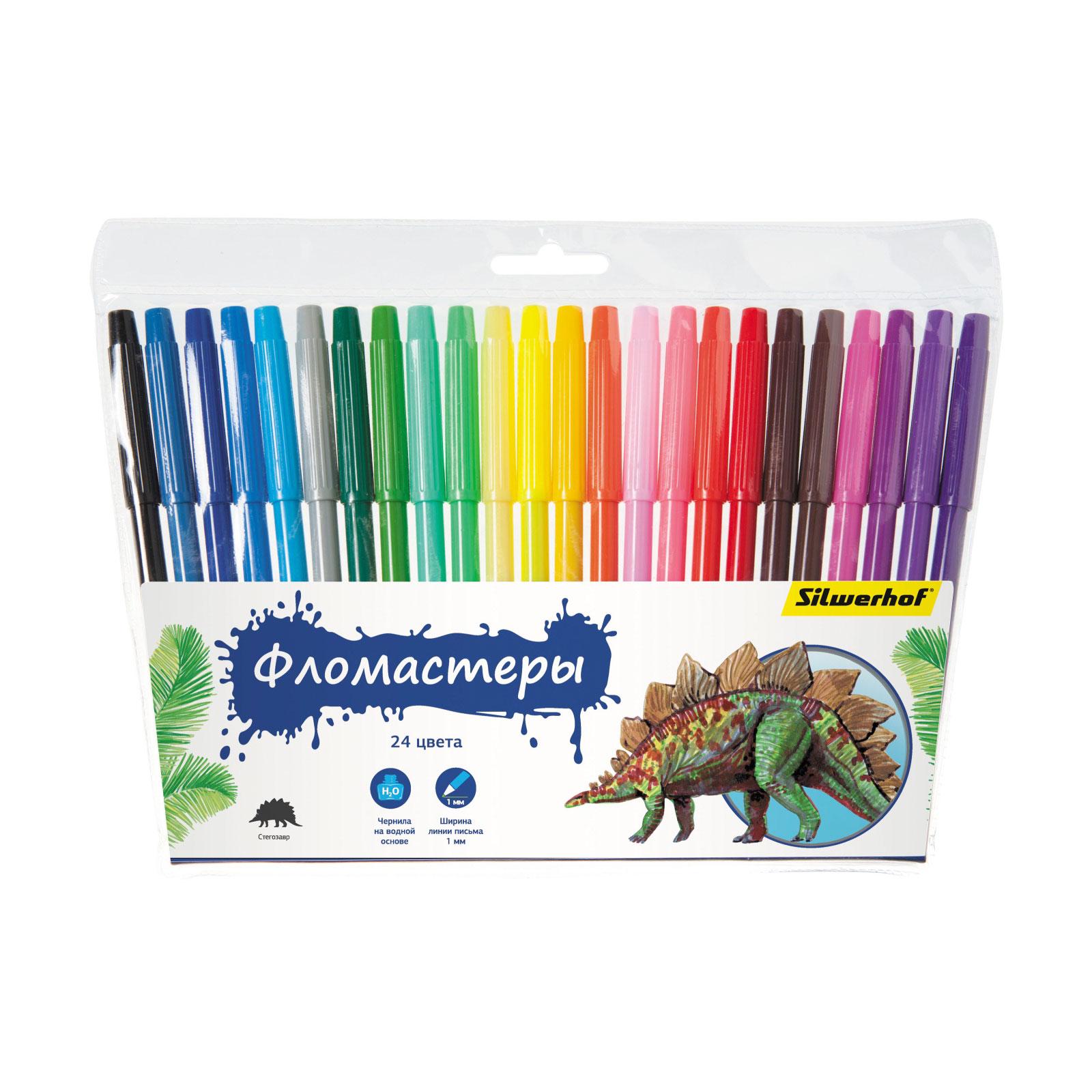 Фломастеры Silwerhof Динозавры 24 цвета (Невентилируемый колпачок)<br>
