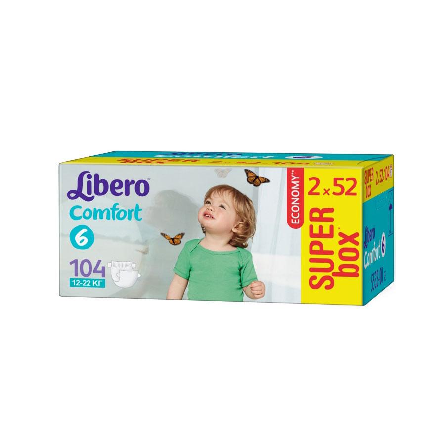 Подгузники Libero Comfort Extra large 12-22 кг (104 шт) Размер 6<br>