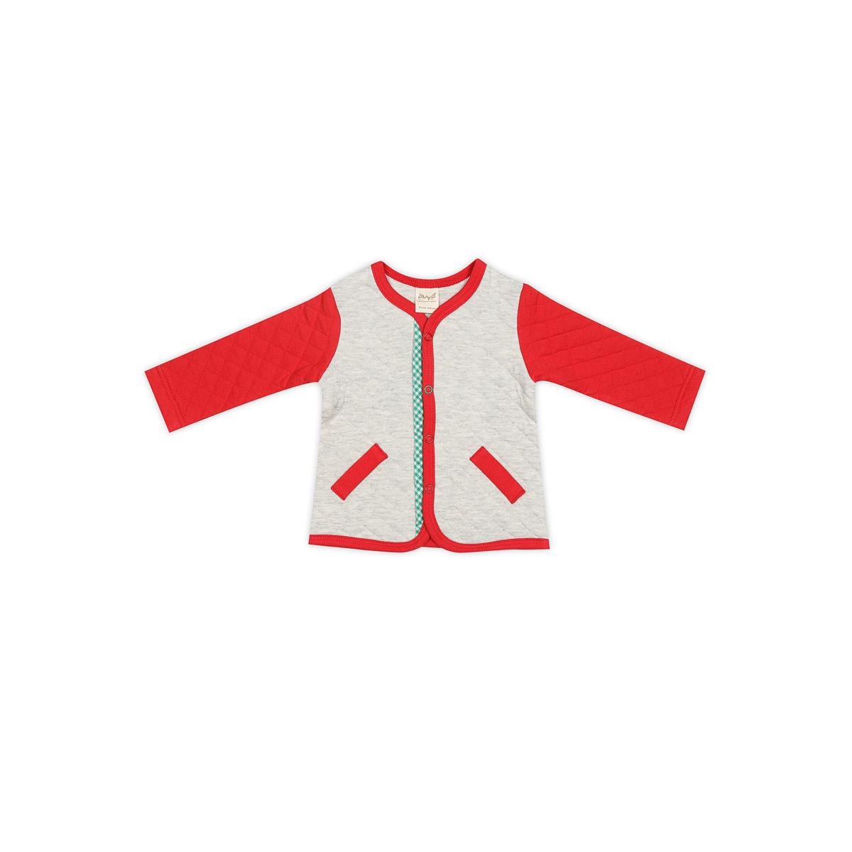 Жакет Емаё Хохлома (25-805) рост 86 светло серый меланж с красным<br>