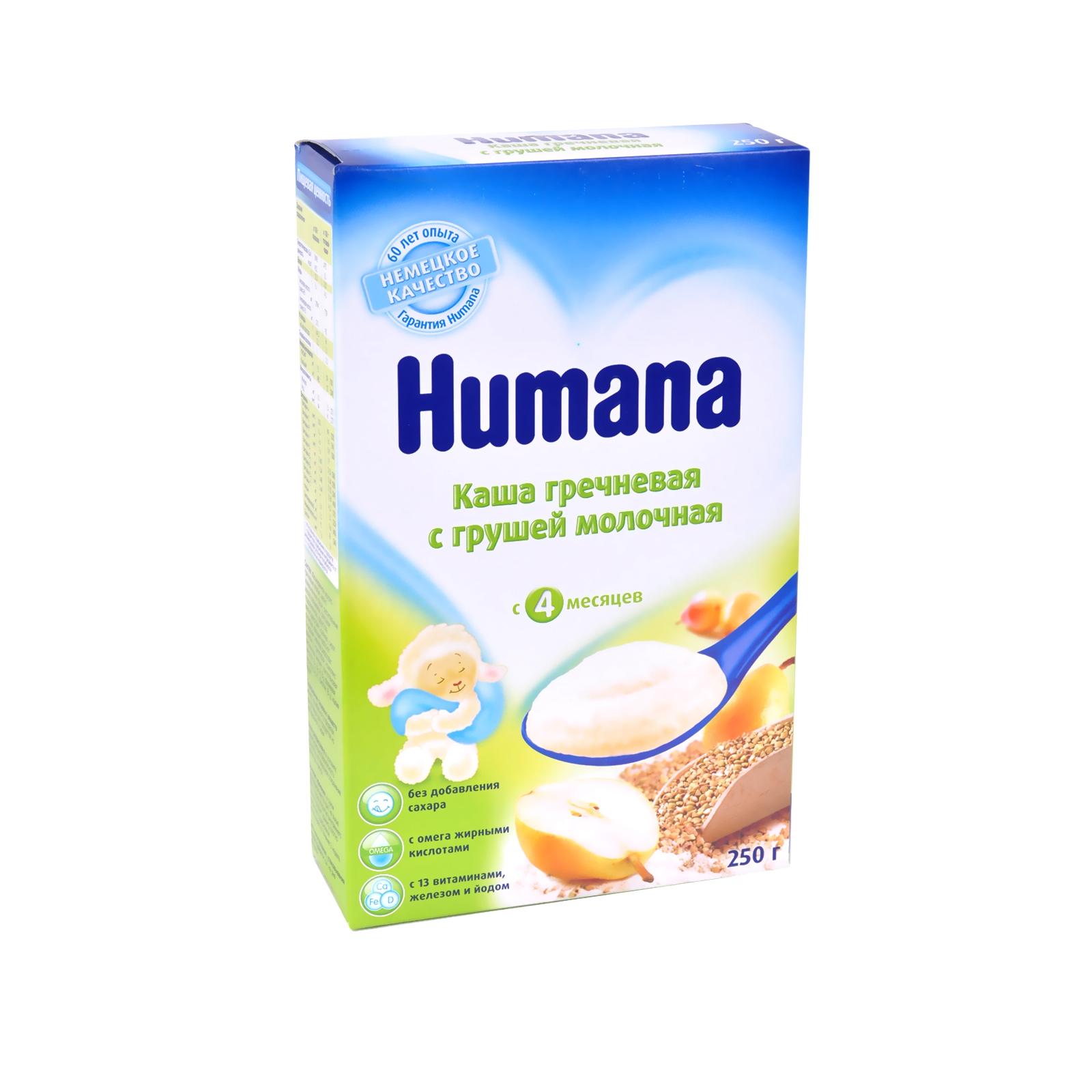Каша Humana молочная 250 гр Гречневая с грушей (с 4 мес)<br>