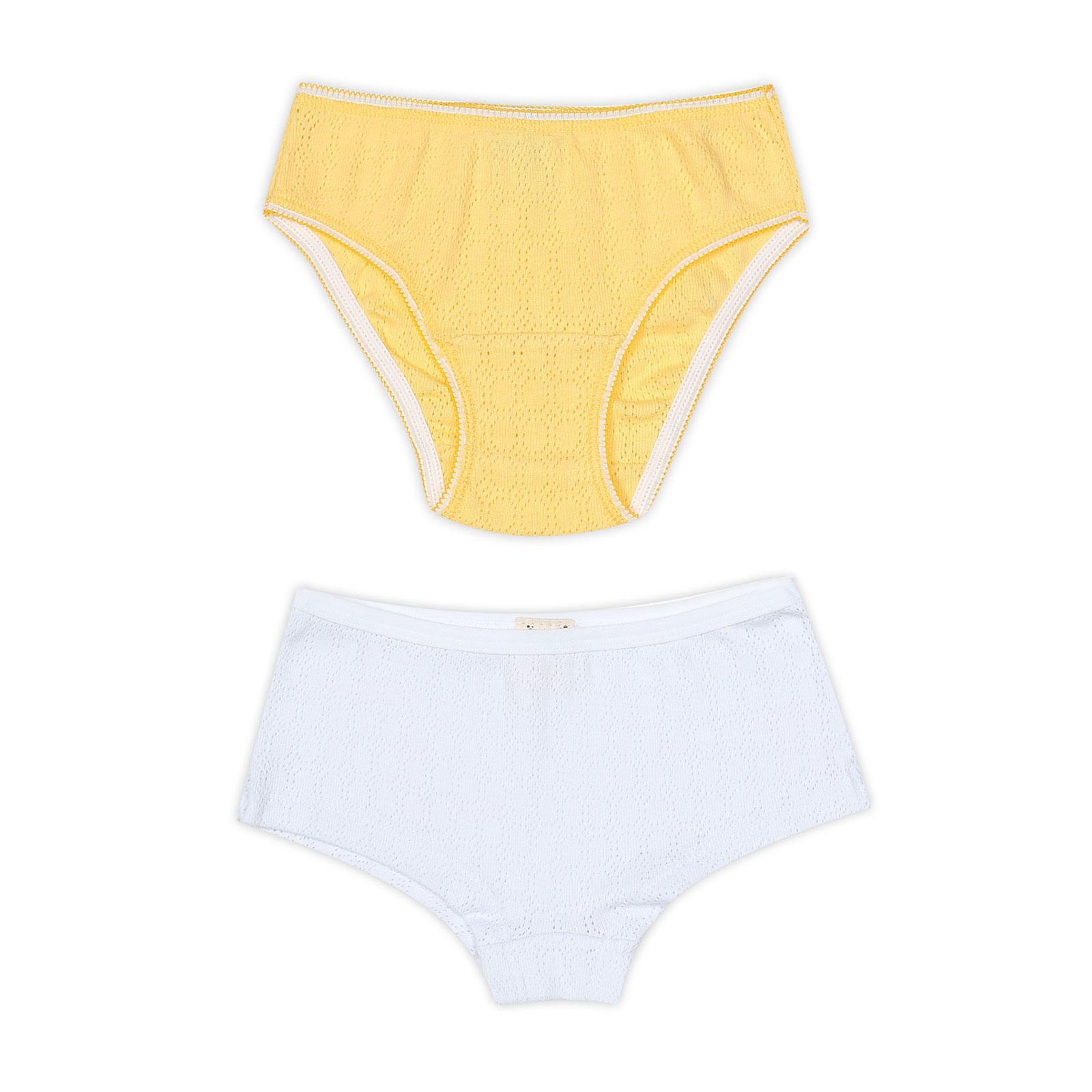 Комплект Ёмаё трусиков (34-102) рост 86 белый с желтым (2шт)<br>