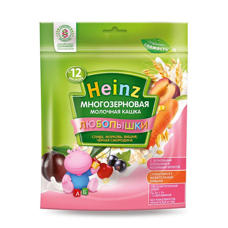 Каша Heinz Любопышка многозерновая молочная 200 гр Сливаморковь вишня черная смородина (с 12 мес)<br>