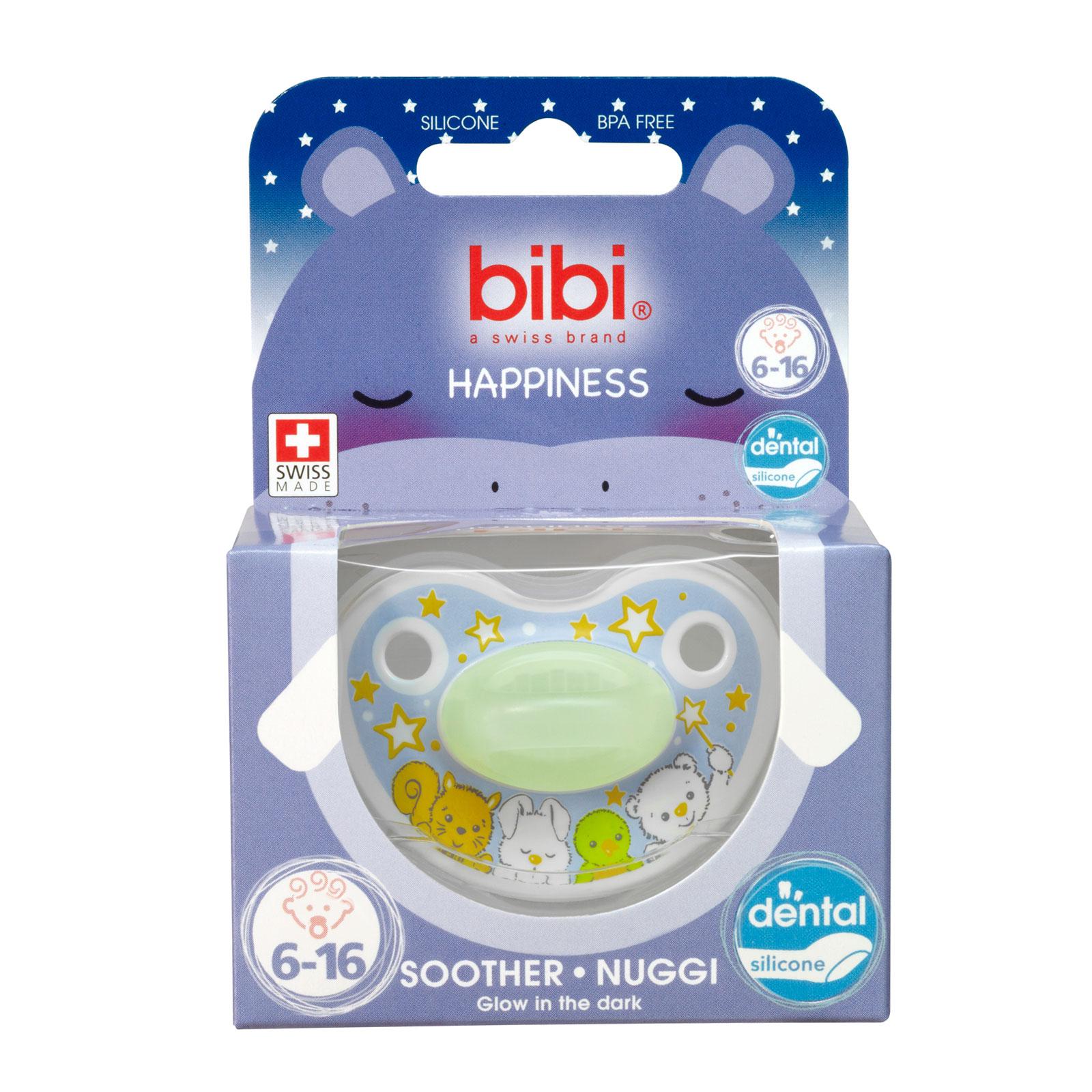 Пустышка Bibi Premium Dental Happiness Glow in the Dark светящаяся (с 6 мес)<br>