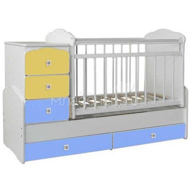 Кроватка-трансформер СКВ компани 93003 Желтый и Голубой
