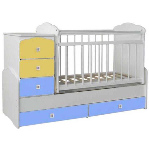 Кроватка-трансформер СКВ компани 93003 Желтый и Голубой<br>