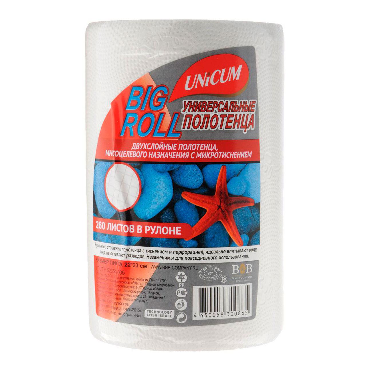 Полотенца бумажные Unicum Big Roll 22х23см 260 шт<br>