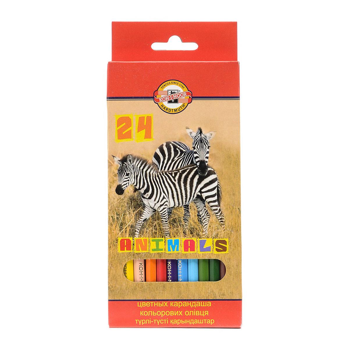 Набор карандашей цветных KOH-I-NOOR ЖИВОТНЫЕ 24 цвета<br>