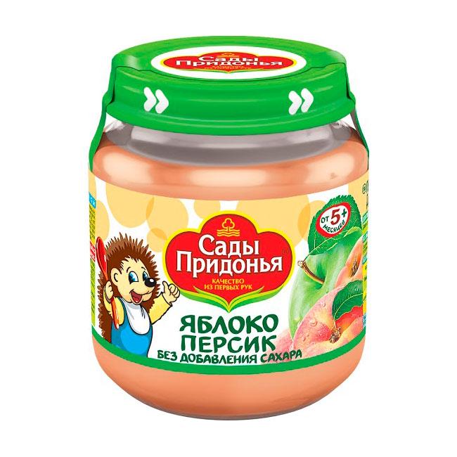 Пюре Сады Придонья фруктовое 120 гр Яблоко персик (с 5 мес)<br>
