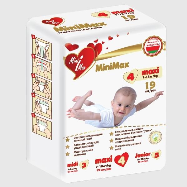 Подгузники MiniMax 7-18 кг (19 шт) Maxi<br>