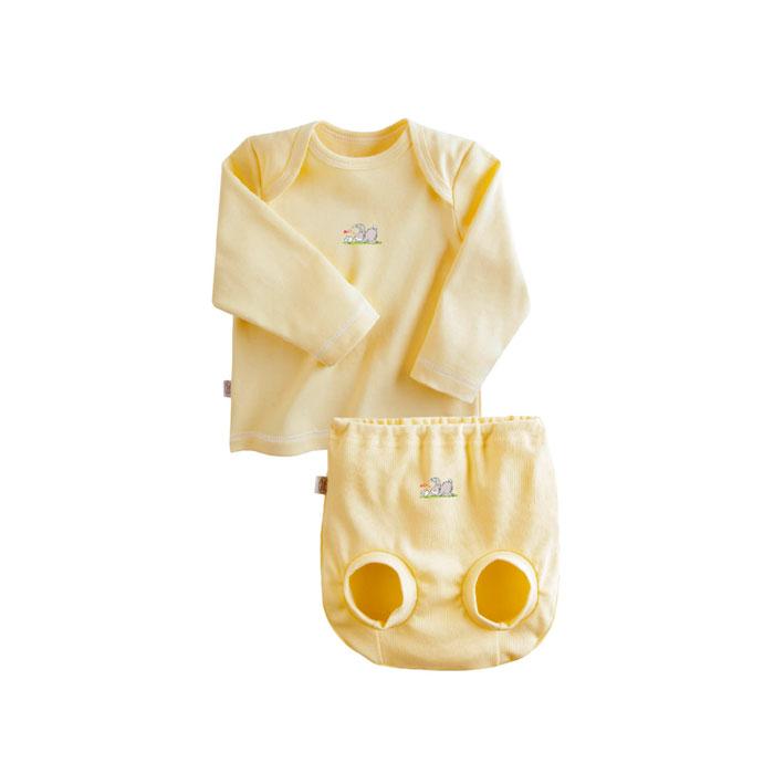 Комплект Наша Мама Be happy №3 (футболка, трусы на подгузник) рост 80 желтый<br>