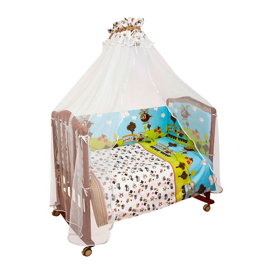Комплект в кроватку Сонный гномик Каникулы 4 предмета Голубой<br>