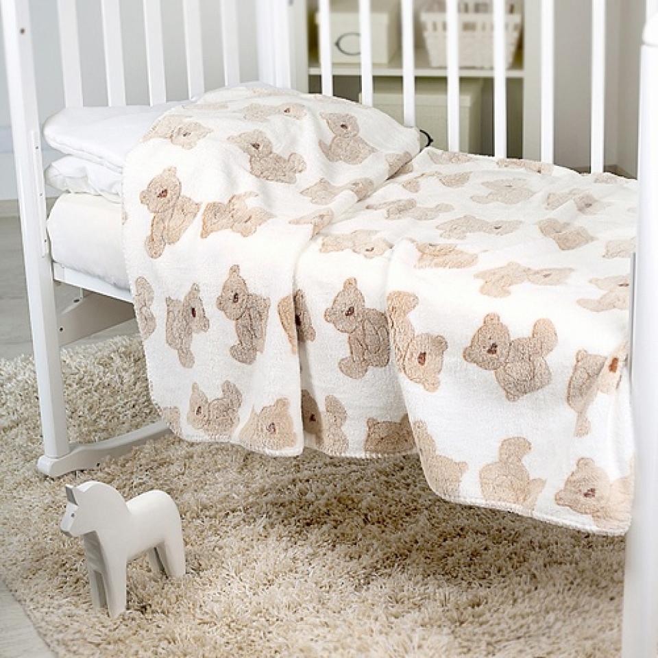 Плед-покрывало Baby Nice 100х150 Velsoft двухстороннее оверлок В ассортименте (Мишки бежевые на белом, Разноцветные  мишки на белом, Мишки и звезды)<br>