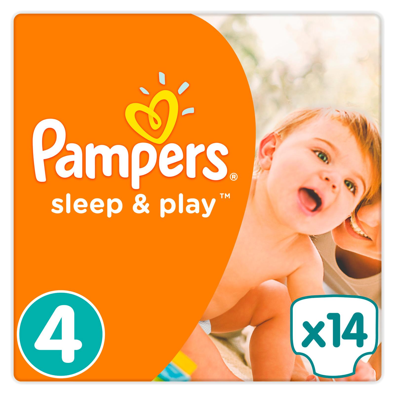 Подгузники Pampers Sleep&amp;amp;Play Maxi 8-14 кг (14 шт) Размер 4<br>