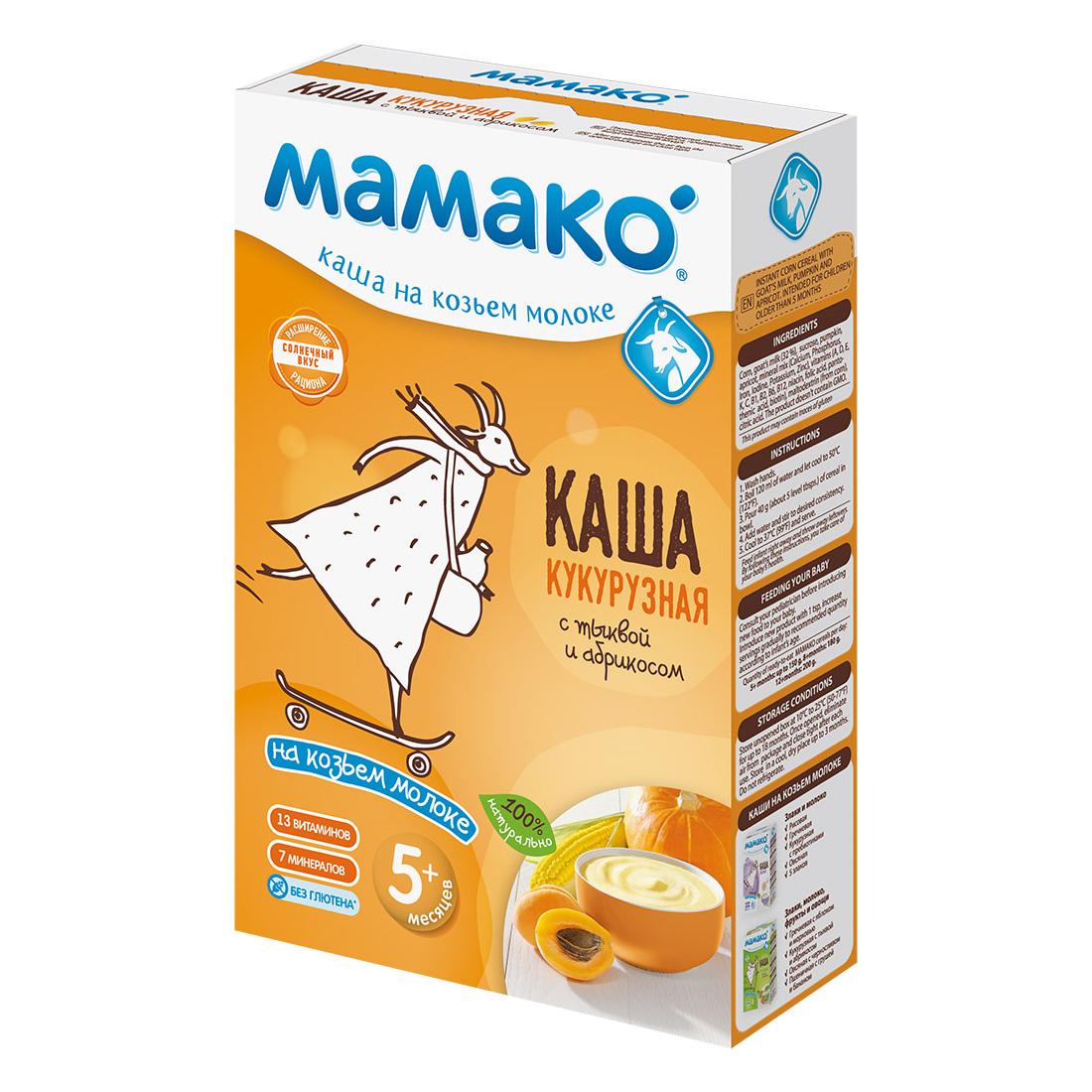 Каша Mamako на козьем молоке 200 гр Кукуруза с тыквой и абрикосом (с 5 мес)<br>