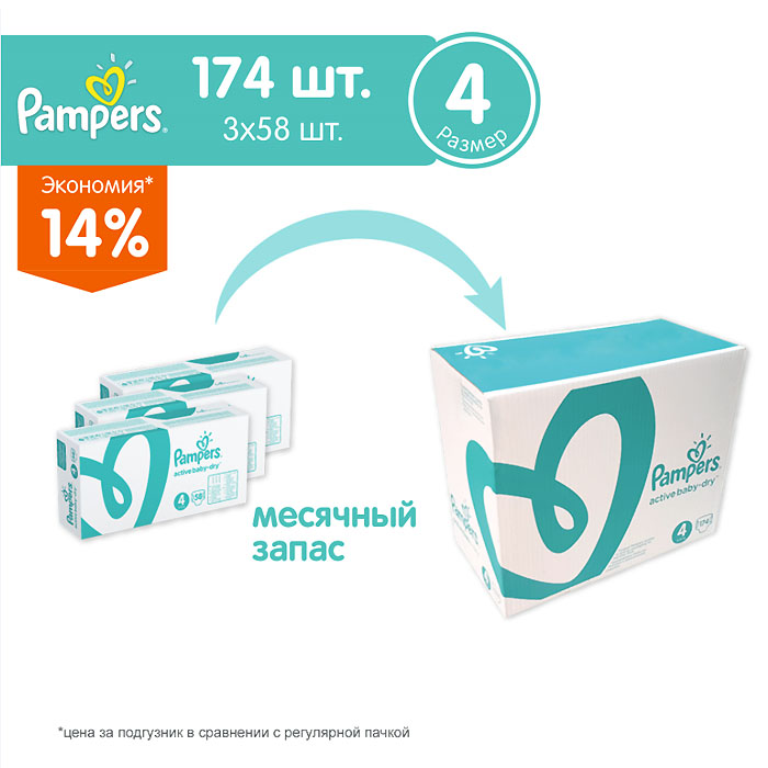 Подгузники Pampers Active Baby Maxi 8-14 кг (174 шт) Размер 4<br>