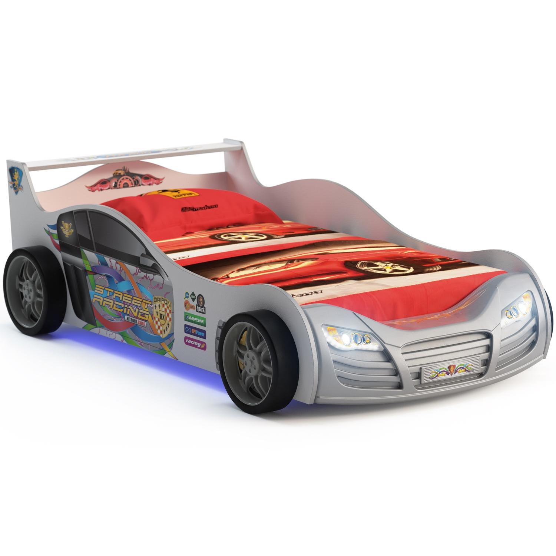 Кровать-машинка Grifon Style R800 Mini night light Белоснежный металлик<br>