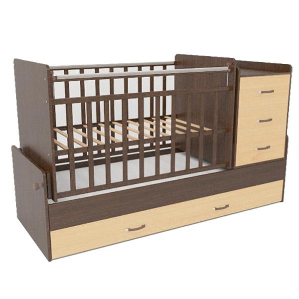 Кроватка-трансформер СКВ компани 53403 Венге - Бежевый<br>