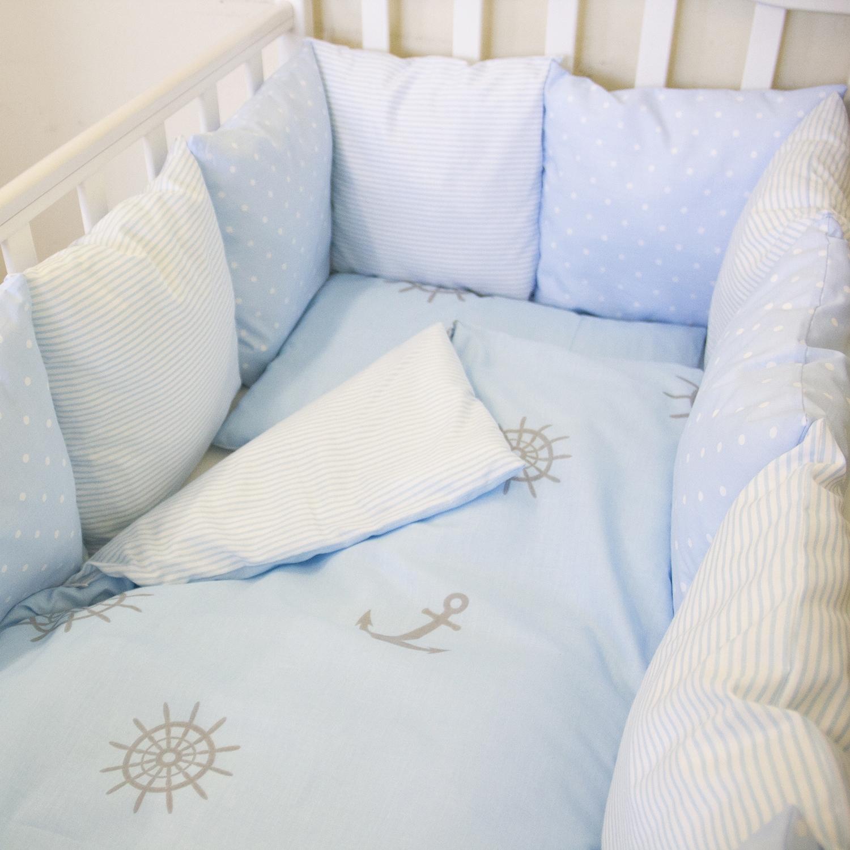 Комплект в кроватку ByTwinz с бортиками-подушками 6 предметов Бриз<br>
