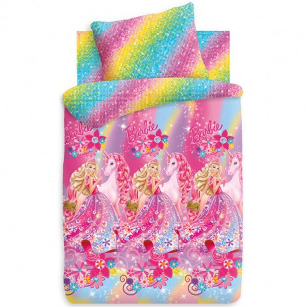 Комплект постельного белья детский 1.5 поплин Непоседа Барби с наволочкой 70х70 Принцесса Алекса<br>