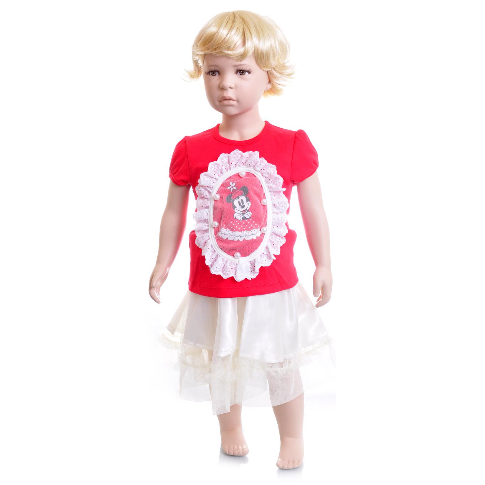 Комплект Дисней Минни футболка с коротким рукавом, светлая юбка, для девочки, красный 12 мес.<br>