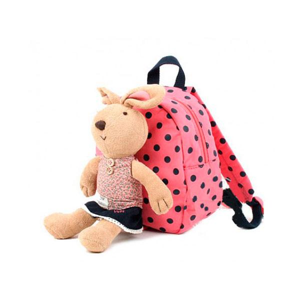 Рюкзак детский Winghouse с игрушкой и поводком 19х22х9см Кролик Розовый<br>