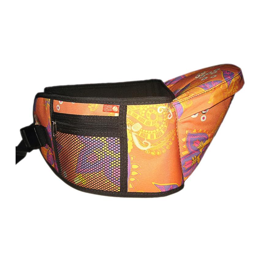 Хипсит Чудо-Чадо Пояс для ношения ребенка (с сиденьем) с 6 мес до 3 лет оранжевый/цветы<br>
