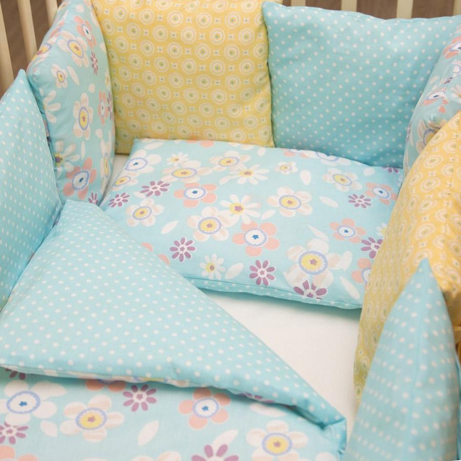 Комплект в кроватку ByTwinz с бортиками-подушками 6 предметов Бель<br>