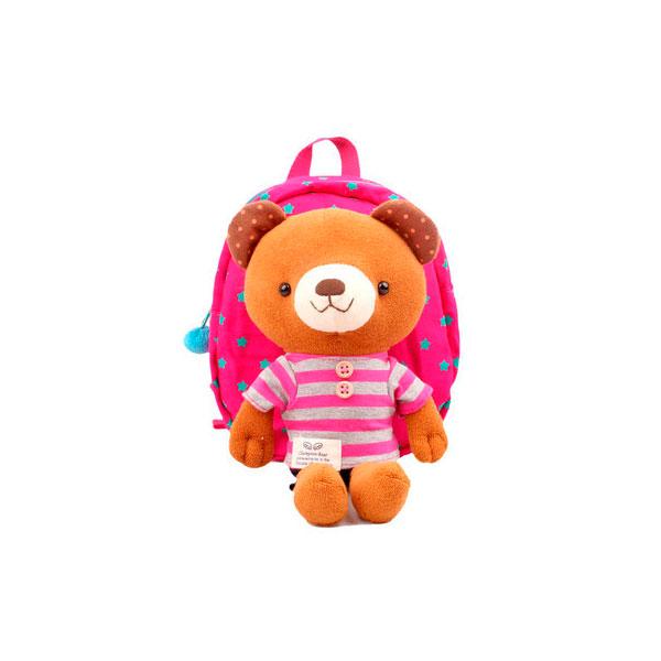 Рюкзак детский Winghouse с игрушкой и поводком 19х22х9см Мишка Розовый<br>