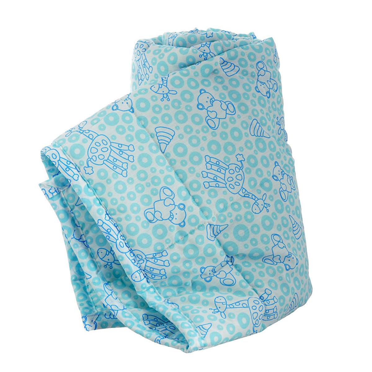 Одеяло Baby Nice стеганное файбер 300силиконизированный 105х140 Мишки и жирафы (бежевый, голубой) (Baby nice)