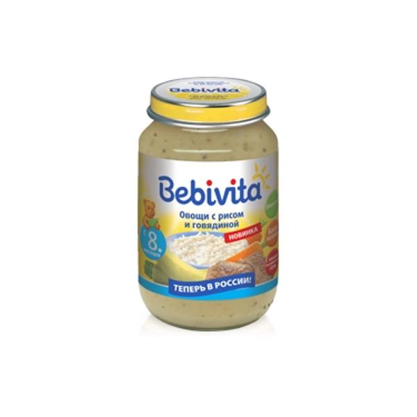 Пюре Bebivita овощи с мясом 190 гр Овощи с рисом и говядиной с 8 мес<br>